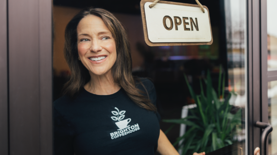 Woman opening Business